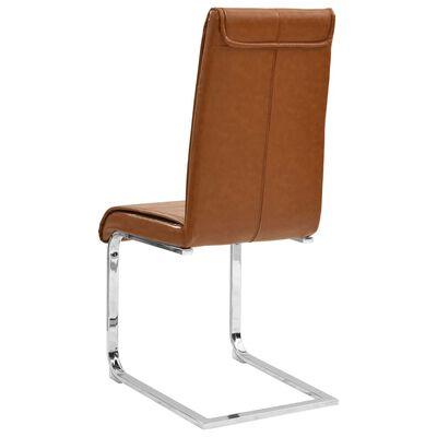 vidaXL spisebordsstole med cantilever 2 stk. kunstlæder blank brun