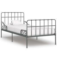 vidaXL sengestel med lamelbund 100 x 200 cm metal grå