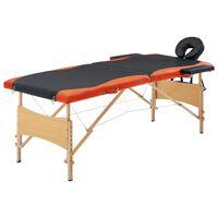 vidaXL foldbart massagebord 2 zoner træ sort og orange