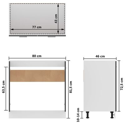 vidaXL vaskeunderskab 80x46x81,5 cm spånplade grå