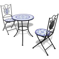 vidaXL bistrosæt 3 dele keramikfliser blå og hvid
