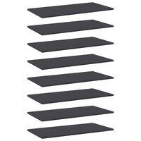 vidaXL boghylder 8 stk. 80x40x1,5 cm spånplade grå