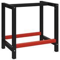 vidaXL stel til arbejdsbænk 80x57x79 cm metal sort og rød