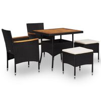 vidaXL udendørs spisebordssæt i 5 dele polyrattan og akacietræ sort