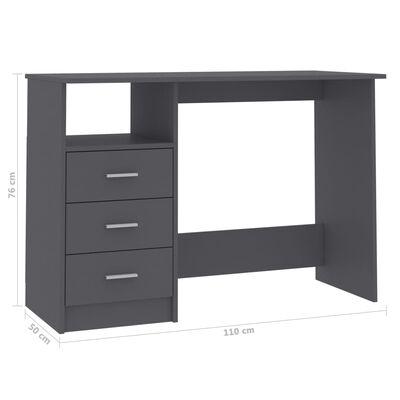 vidaXL skrivebord med skuffer 110x50x76 cm spånplade grå