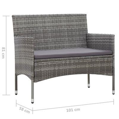 vidaXL havebænk 105 cm polyrattan grå