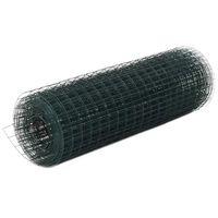 vidaXL hønsenet stål med PVC-belægning 25 x 0,5 m grøn
