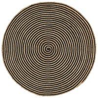 vidaXL håndlavet jutetæppe med spiraldesign 120 cm sort