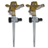 vidaXL impulssprinklersæt havevanding zink metalspyd 2 stk.