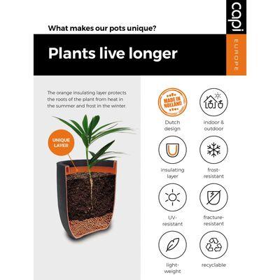 Capi plantekrukke Nature Rib firkantet 50 x 50 cm sort
