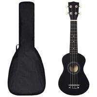"""vidaXL ukulelesæt med taske til børn 21"""" sort"""