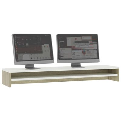 vidaXL skærmstander 100 x 24 x 13 cm spånplade hvid og sonoma-eg