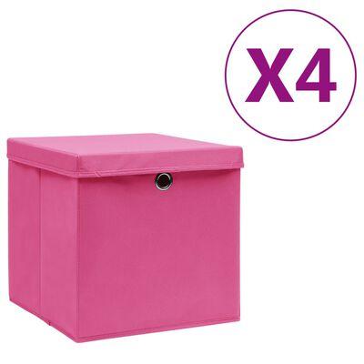 vidaXL opbevaringskasser med låg 4 stk. 28x28x28 cm lyserød
