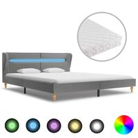 vidaXL seng med LED og madras 160 x 200 cm lysegrå stof