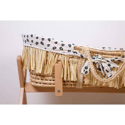437360 CHILDHOME raffia moseskurv med madras og betræk leopardprint