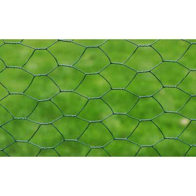 vidaXL hønsenet galvaniseret stål med PVC-belægning 25 x 0,5 m grøn