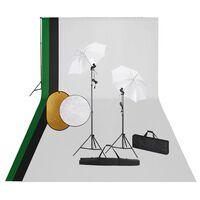 vidaXL fotostudieudstyr med lamper, baggrund og reflektor