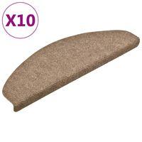 vidaXL selvklæbende trappemåtter 10 stk. 65x21x4 cm tuftet cremefarvet
