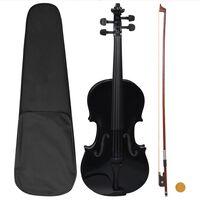 vidaXL violinsæt i fuld størrelse med bue og hagebræt 4/4 sort