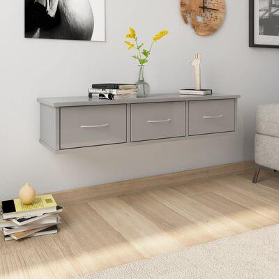 vidaXL vægskab med skuffer 88 x 26 x 18,5 cm spånplade grå højglans