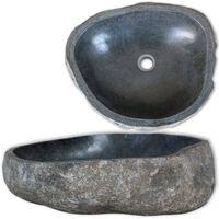 vidaXL håndvask 30-37 cm oval flodsten