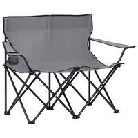 vidaXL 2-personers campingstol foldbar stål og stof grå