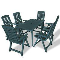 vidaXL udendørs spisebordssæt 7 dele plastik grøn