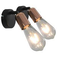 vidaXL spotlamper 2 stk. E27 sort og kobber