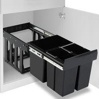 vidaXL udtrækkelig køkkenaffaldsspand med sortering soft-close 48 l