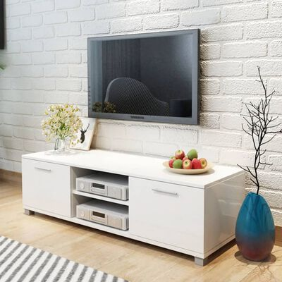 vidaXL tv-bord 120x40,3x34,7 cm hvid højglans