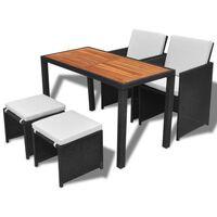 vidaXL udendørs spisebordssæt 5 dele polyrattan akacietræ sort