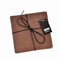 Glasafdækning grå / brun læder look 4-pack