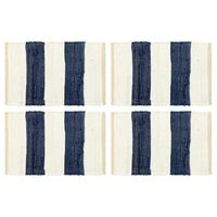vidaXL dækkeservietter 4 stk. blå og hvid 30 x 45 cm chindi stribet