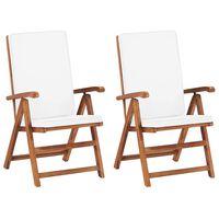vidaXL havelænestole med hynder 2 stk. massivt teaktræ cremefarvet