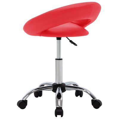 vidaXL arbejdsstol med hjul kunstlæder rød