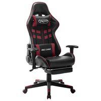 vidaXL gamingstol med fodstøtte kunstlæder sort og vinrød