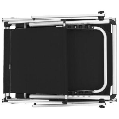 vidaXL foldbar liggestol med tag aluminium og textilene sort