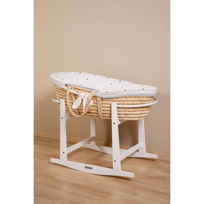 CHILDHOME Moses Basket with Mattress and Cover Natural Gold