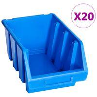 vidaXL stabelbare opbevaringskasser 20 stk. plastik blå