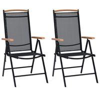 vidaXL foldbare havestole 2 stk. aluminium og textilene sort