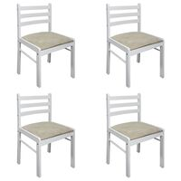 vidaXL spisebordsstole 4 stk. massivt gummitræ og fløjl hvid