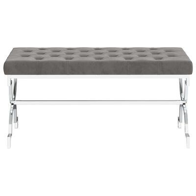 vidaXL bænk 99 cm fløjl og rustfrit stål grå