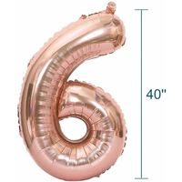 Nummerballon 102 Cm, Nummer 6 - Pink