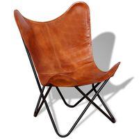vidaXL butterflystol ægte læder brun