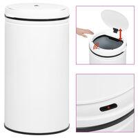 vidaXL affaldsspand med sensor 60 l kulstofstål hvid