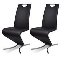 vidaXL spisebordsstole 2 stk. kunstlæder sort
