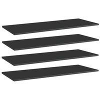 vidaXL boghylder 4 stk. 100x40x1,5 cm spånplade sort højglans