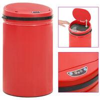 vidaXL affaldsspand med sensor 40 l kulstofstål rød