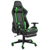vidaXL drejelig gamingstol med fodstøtte PVC grøn