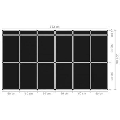 vidaXL 18-panels udstillingsvæg foldbar 362x200 cm sort